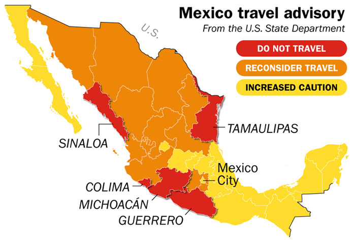 mexico travel warning map