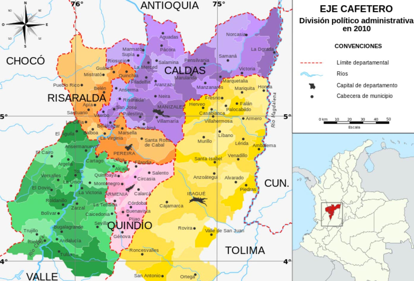 colombia coffee region map