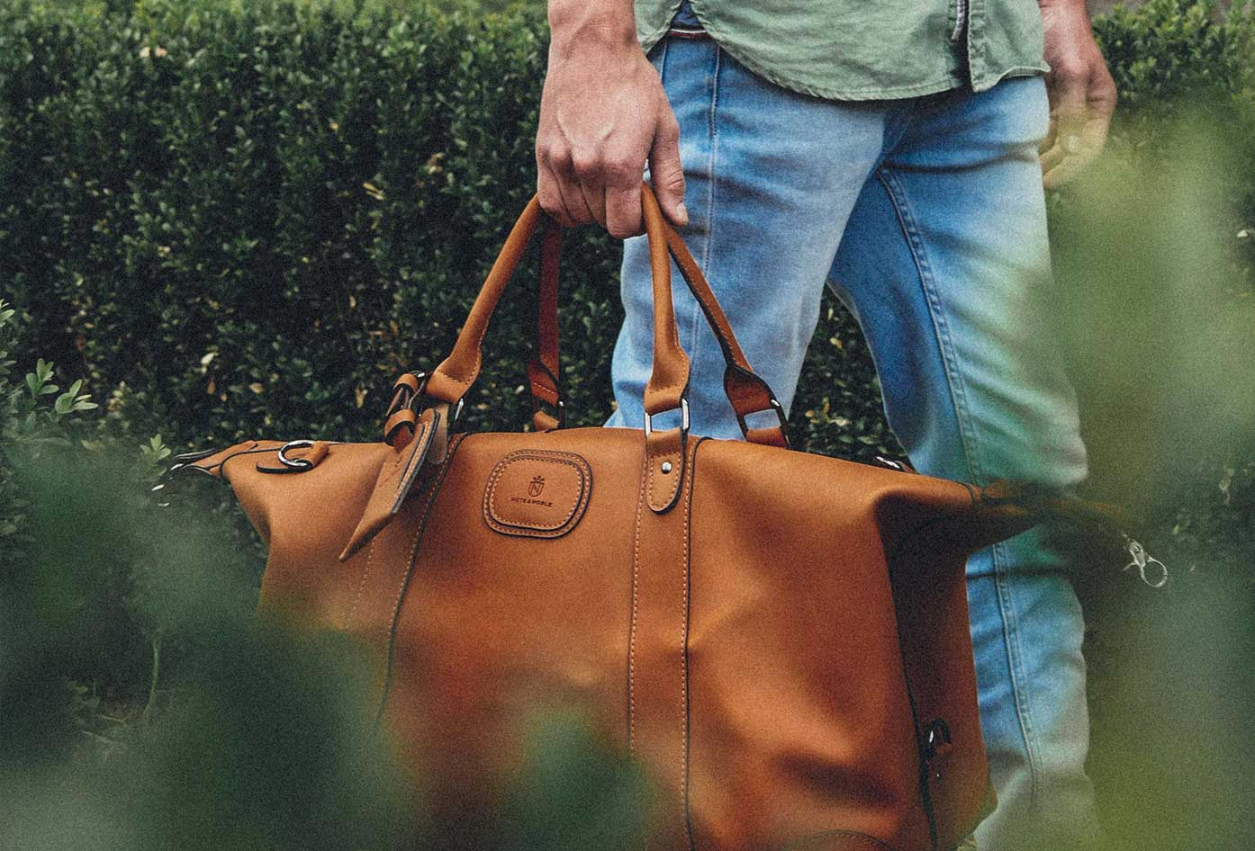 mens leather duffel bag for travel