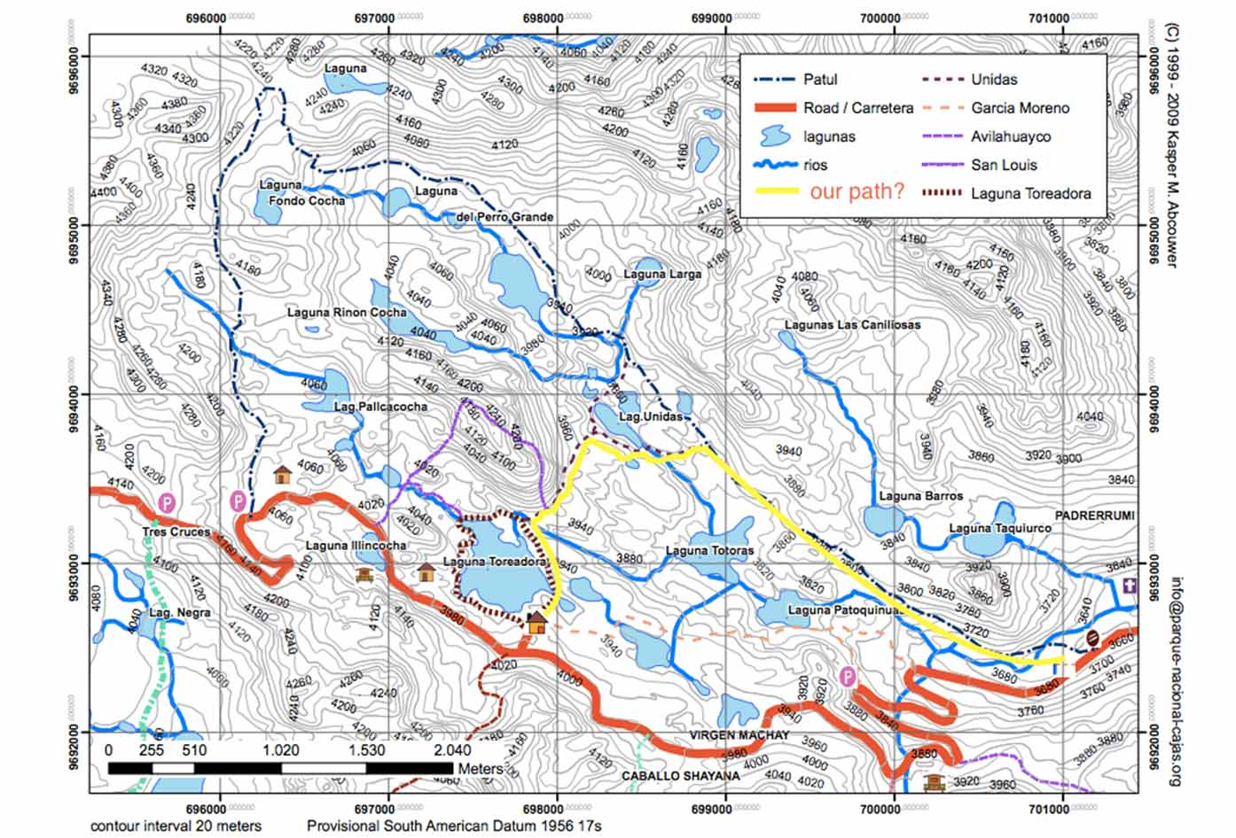 cajas national park map