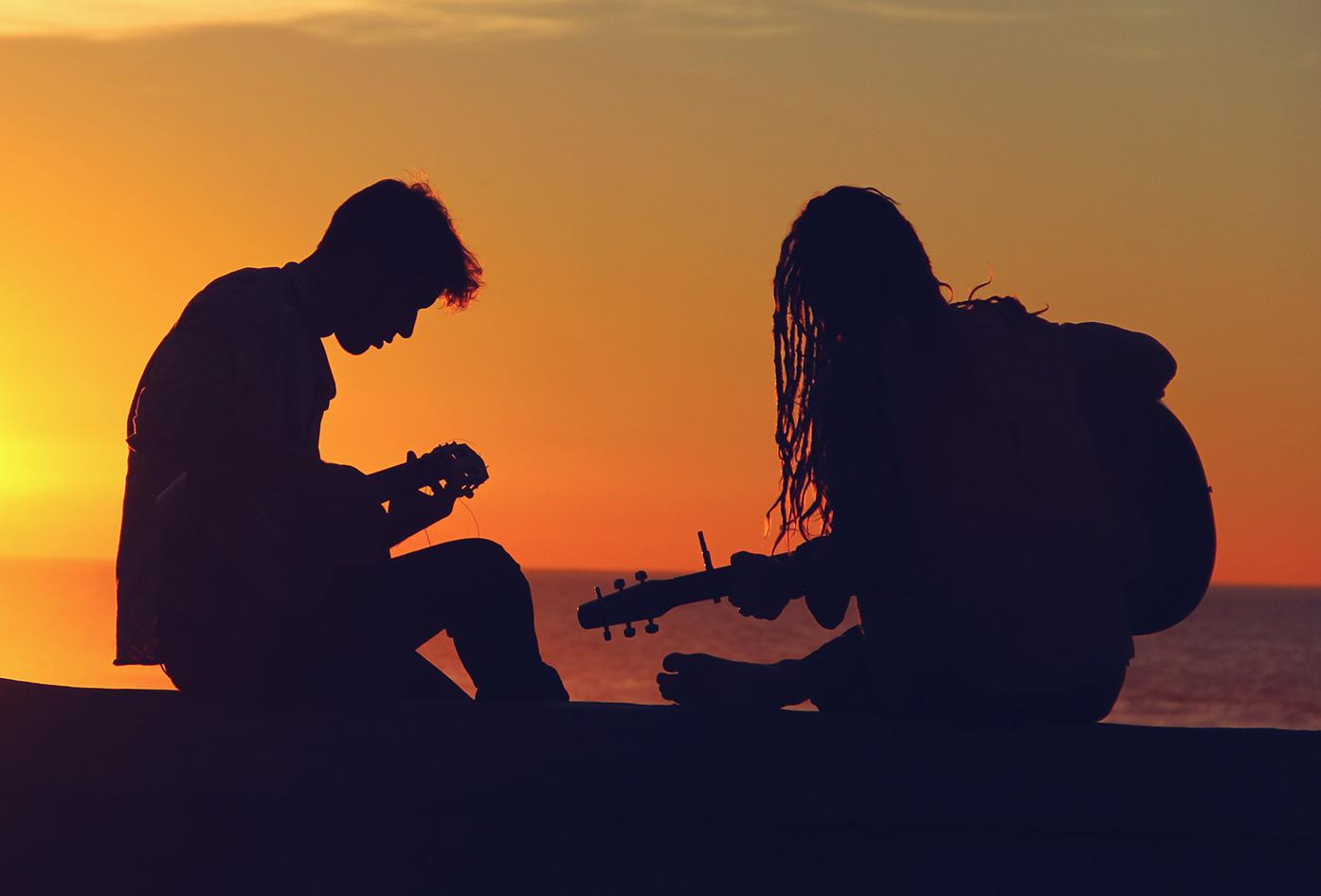 travel guitar sunset